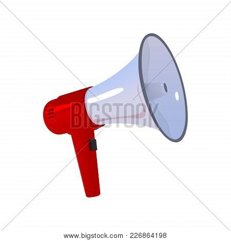 Megaphone. Red With A White Bullhorn. Loudspeaker Isolated On A White Background. Vector Illustratio