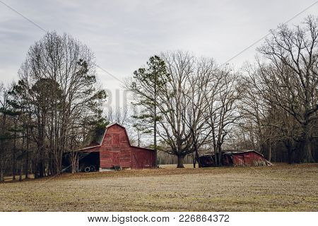 Old American barns  in winter
