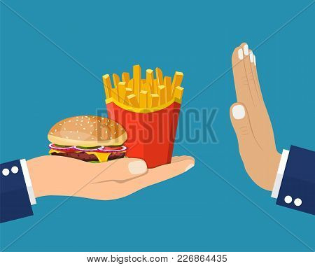 Rejecting The Offered Junk Food. Gesture Hand No Rejecting Fast Food. Offer Fries And A Hamburger In