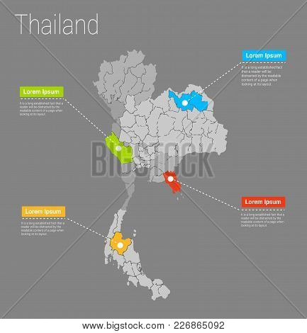 Map Thailand I Concept. Political Thailand Map Infographic. Eps Thailand Map Infographics Design Tem