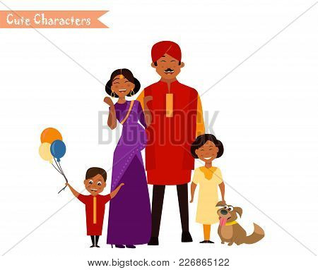 Big Happy Indian Family In National Dress Isolated Vector Illustration. Parents And Children Cartoon