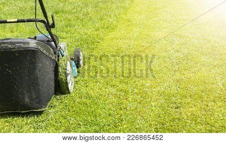 Mowing Lawns, Lawn Mower On Green Grass, Mower Grass Equipment, Mowing Gardener Care Work Tool, Clos