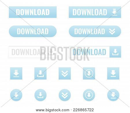 Download Buttons Set In Flat, Vector Illustration