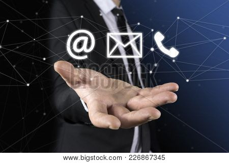 Businessman On Blurred Background Using Flying Network Connection