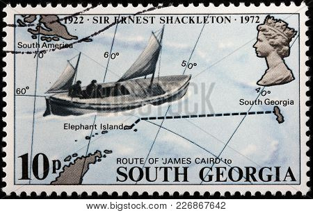 Luga, Russia - February 08, 2018: A Stamp Printed By South Georgia Shows Voyage Of The James Caird B