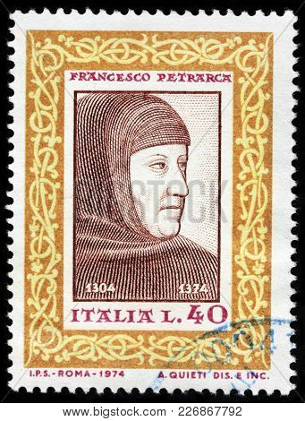Luga, Russia - February 08, 2018: A Stamp Printed By Italy Shows Francesco Petrarca, Commonly Anglic