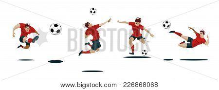 Soccer Player Kicking Ball. Set Collection Of Different Poses. Vector Illustration