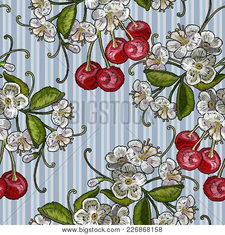 Embroidery Cherry Blossom Tree And Cherry Fruit Berry Seamless Pattern. Fashion Template For Clothes