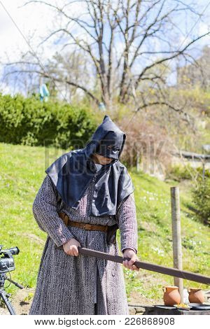 Veliko Tarnovo,bulgaria, April 04 2015, False Executioner Taking The Pose For The Tourist With Camer
