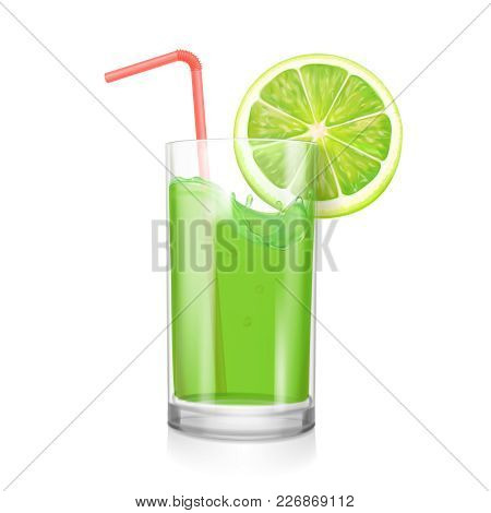 Lime Juice In Drinking Glass. Citrus Coctail Illustration.