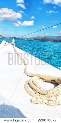 A Old Catamaran  Rope In The Sky Like  Abstract Concept