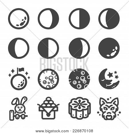 Moon And Lunar Icon Set Vector Illustration