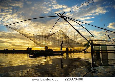 Sunrise Scene In Tha La Cultivation Field With Fishing Net In Chau Doc, An Giang Province, South Vie
