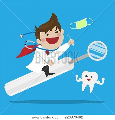 Happy Male Dentist Riding A Mouth Mirror Treatment Is Not Terrible For Made A Children Feel Relax, D