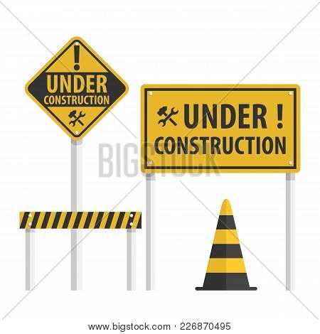 Construction Sign Set, Collection Simple Flat Vector.