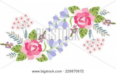 Floral Border With Rose, Bell Flower, Salvia And Turkish Carnation Isolated On White. Vector Illustr