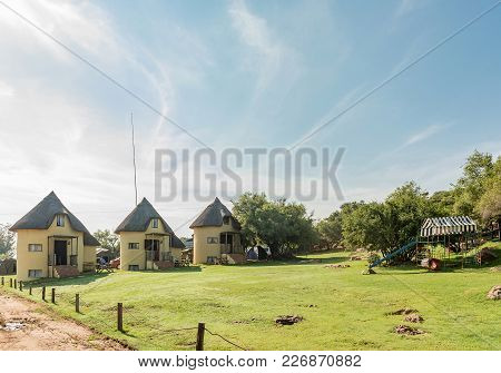 Excelsior, South Africa, February 9, 2018: Silos Converted Lnto Chalets At Korannaberg Adventures Ne