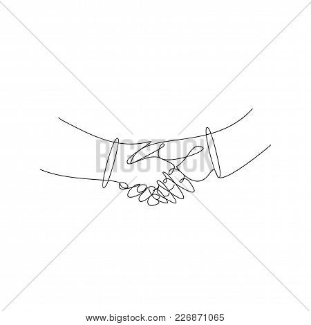 Business Handshake, Contract Agreement Thin Line Art Vector Illustration.