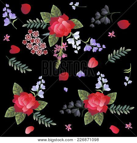 Spanish Floral Pattern With Red Roses, Carnation, Sage And Bell Flowers On Black Background. Manton