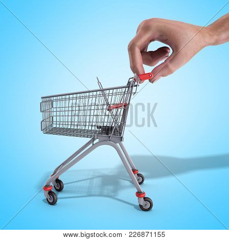 Shopping Cart In A Hand 3d Render Over Blue Background