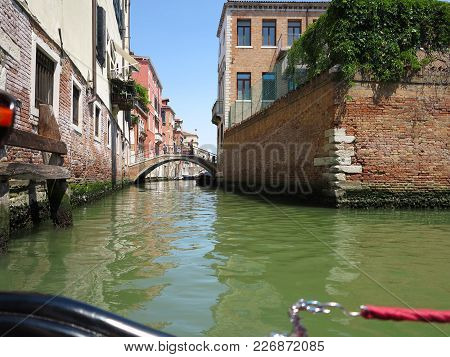 20.06.2017, Venice, Italy: View From Gondola To Historic Buildings And Canals