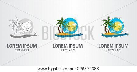 Logo Island. Vector Illustration On Gray Background.