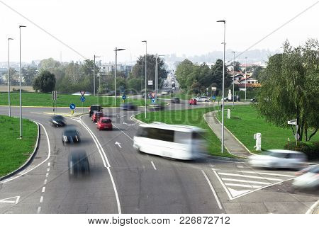 Road Traffic At Roundabout Junction. Emotional Stress