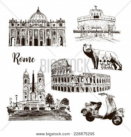 Rome Architectural Symbols: Coliseum, St. Peter Cathedral, Wolf, Romulus, Scooter Etc Drawn Vector S