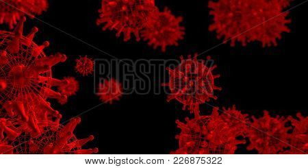 Virus Abstract Transparent Models. Medicine Research Background. 3d Rendering.