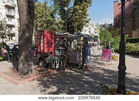 Kiev, Ukraine-september 18, 2017: Two Local Drinks And Ice Cream Outlets In Front Of Golden Gates Of