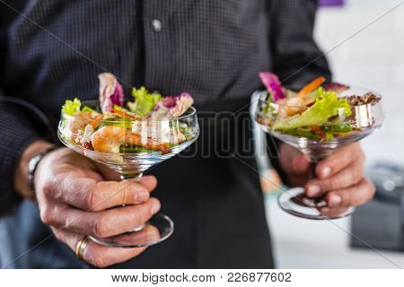 Delicious Shrimp Cocktail Salad With Avocado And Lettuce.