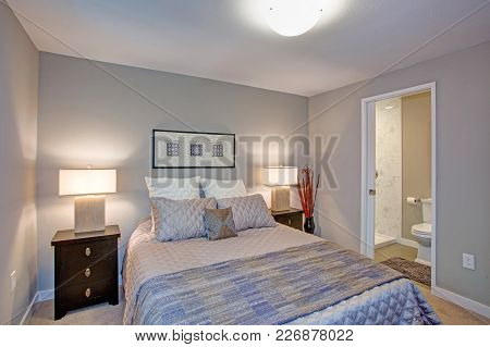 Peaceful Gray Blue Bedroom Interior With Ensuite Bathroom