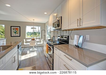 Light Filled Kitchen With Stainless Appliances