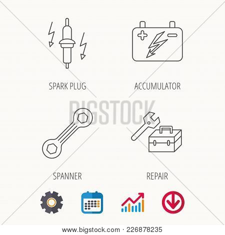 Accumulator, Spanner Tool And Car Service Icons. Repair Toolbox, Spark Plug Linear Signs. Calendar,