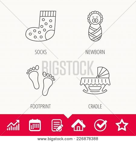 Footprint, Cradle And Newborn Baby Icons. Socks Linear Sign. Edit Document, Calendar And Graph Chart