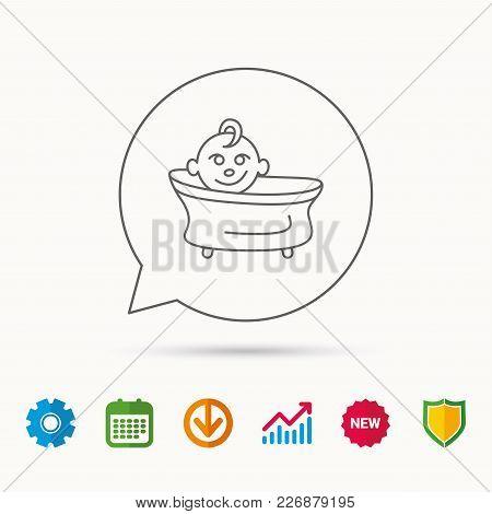 Baby In Bath Icon. Toddler Bathing Sign. Newborn Washing Symbol. Calendar, Graph Chart And Cogwheel