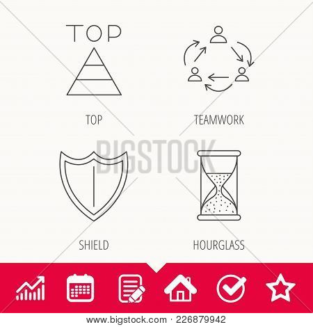 Teamwork, Shield And Top Pyramid Icons. Hourglass Linear Sign. Edit Document, Calendar And Graph Cha