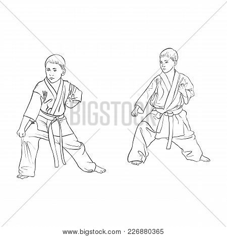 Two Young Karate Boys Doing Kata, Hand Drawn Vector Illustration