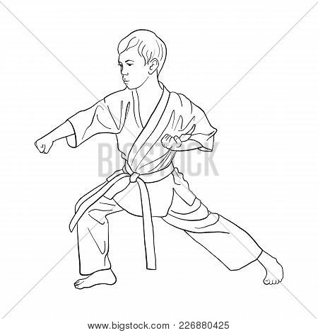 Young Karate Boy, Hand Drawn Vector Illustration