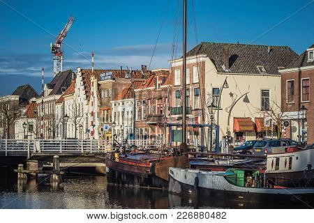 Zwolle, Netherlands - February 2, 2018: Historic Housefronts Along The Thorbeckegracht On A Sunny Wi