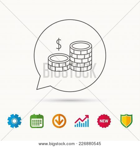 Dollar Coins Icon. Cash Money Sign. Bank Finance Symbol. Calendar, Graph Chart And Cogwheel Signs. D