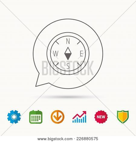 Compass Navigation Icon. Geographical Orientation Sign Calendar, Graph Chart And Cogwheel Signs. Dow