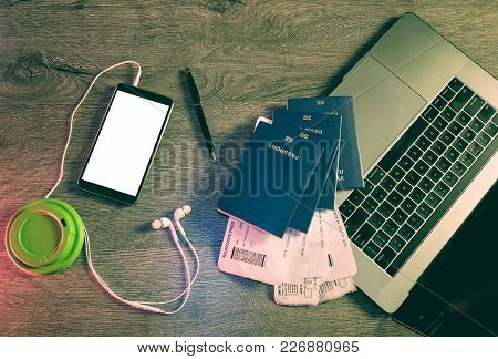 Business Travel Computer And Objects On Office Desk