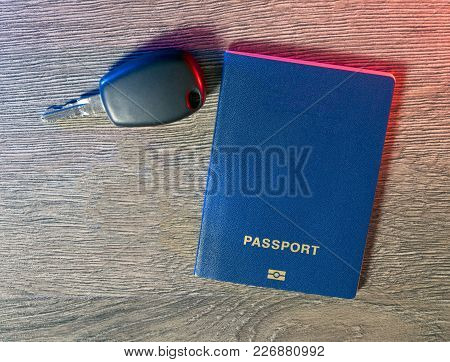 Passport, Car And The Keys To The Car To Prepare For The Trip