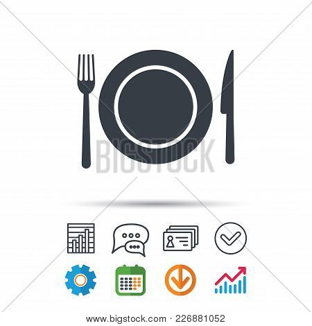 Dish, Fork And Knife Icons. Cutlery Symbol. Statistics Chart, Chat Speech Bubble And Contacts Signs.