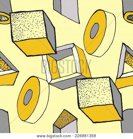 Seamless Geometric Pattern With 3d Geometric Objects. Abstract Doodle Background. Hand Drawn Primiti