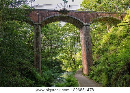 Dolgoch Viaduct, Seen From The Waterfalls Walk, Gwynedd, Wales, Uk