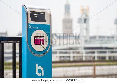 Kampen, Netherlands - December 15, 2017: Check-in Post For Blauwnet, The Regional Public Transport N