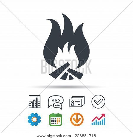 Fire Icon. Blazing Bonfire Flame Symbol. Statistics Chart, Chat Speech Bubble And Contacts Signs. Ch