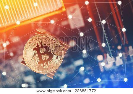 Bitcoin Hardfork Ico. Gold Bitcoin Electronic Computer Processor Board Hard Fork